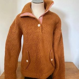 J.crew vintage snap collar Sherpa pullover
